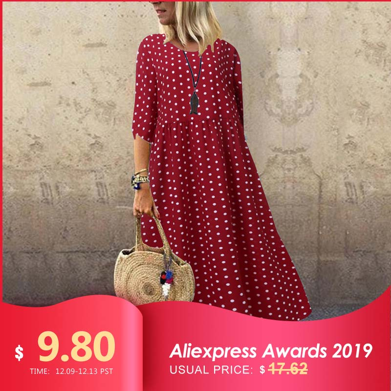 2019 Autumn Summer Long Maxi Dresses ZANZEA Dress Women Vintage Vestidos Robe Pleated Printed Plus Size Femme 3/4 Sleeve Tunic 7
