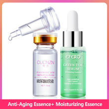 Acne Treatment Serum Green Tea Tree Face Essence  Peptide Collagen Shrink Pores Firming Hyaluronic Acid Whitening Face Cream