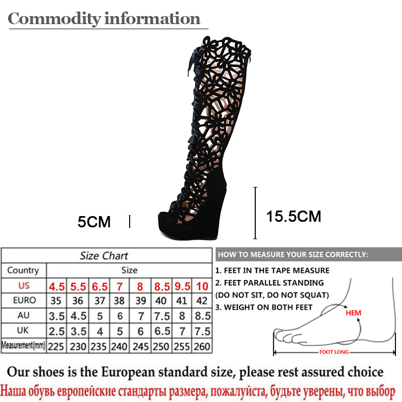 Gdgydh Hollow Out Over The Knee Wedge Boots Women Fashion Nightclub Party Shoes For Autumn Lace Up Open Toe Boots Female Sexy in Over the Knee Boots from Shoes