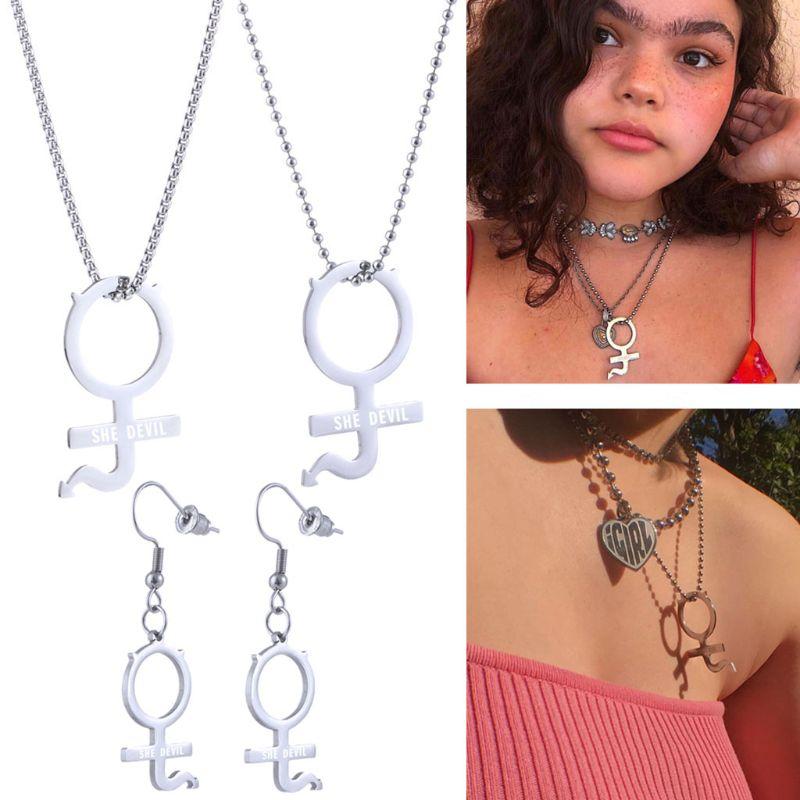 Stainless Steel Internet Girl She Devil Female Symbol Gothic Streetwear Pendant Necklace Earrrings Women Jewerly Set