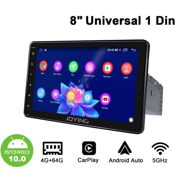 Radio Universal con Android 10 para coche, Radio estéreo individual de 8 pulgadas, 1 Din, Multimedia, 4GB + 64GB, Unidad Principal DSP, módem 4G, volante inalámbrico de Carplay
