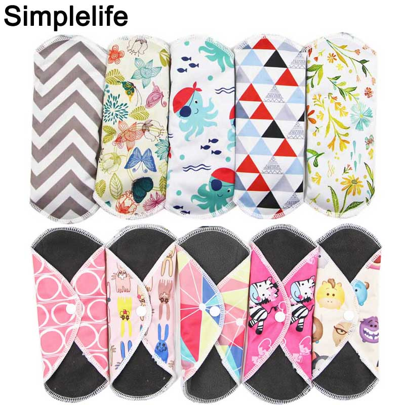 Bamboo Charcoal Reusable Menstrual Pads For Pregnant Women Panty Liner Waterproof PUL Towel Hygienic Washable Sanitary Napkin