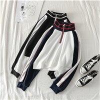 Mooirue-Harajuku-Zipper-Sweatshirt-Striped-Patchwork-Vintage-Casual-Streetwear-Korean-Style-Turtleneck-Basic-Outwear-Pullovers