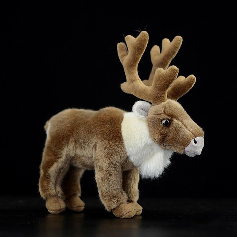 Real Life Reindeer Stuffed Animal Toys Brown Peary Caribou Plush Toy Lifelike Wild Animals Deer Plush Dolls Christmas Gifts