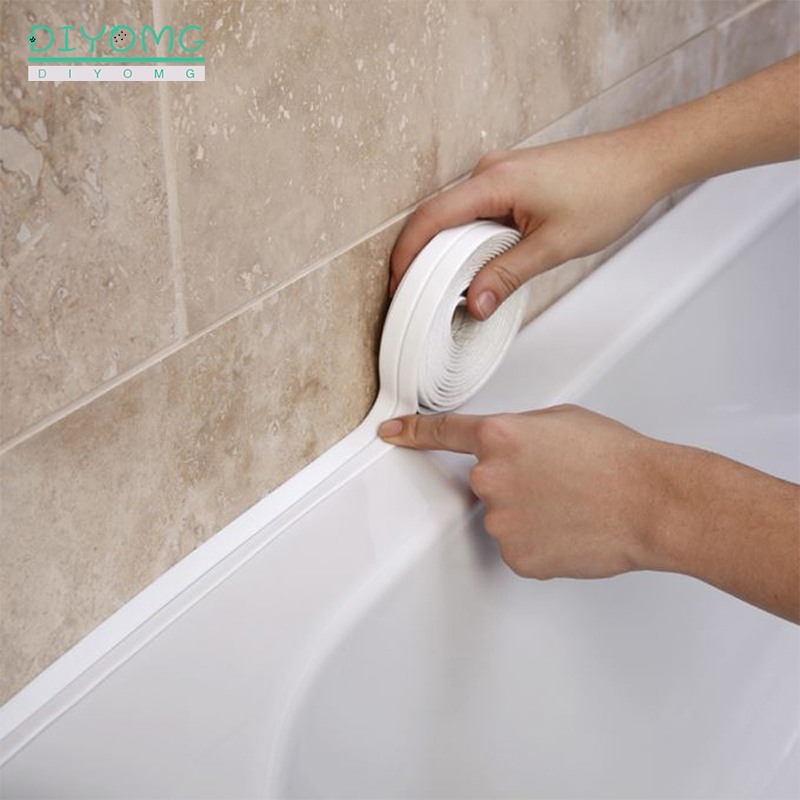 Pia da cozinha do banheiro chuveiro impermeável auto adesivo fita tira de vedação pvc à prova de molde adesivos parede janela porta gap costura fita