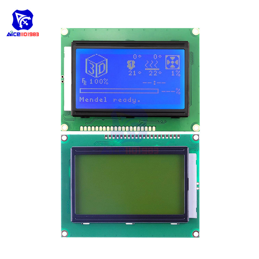Diymore 128x64 Dots Graphic 12864 LCD Display Module With Backlight ST7920 IIC I2C SPI For Arduino Raspberry Pi STM32 3D Printer