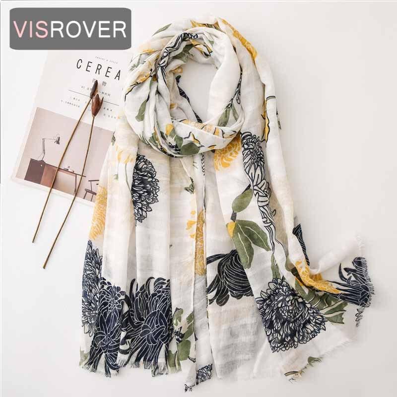 VISROVER 2020 New Follower Printing Viscose Summer Scarf With Fringer Fashion Beach Wraps Spring Shawls Hijab Gift Wholesales