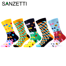 SANZETTI 5 Pairs/Lot New Mens Colorful Casual Combed Cotton Happy Crew Socks Funny Hip Hop Novelty Plaid Dot Bright Dress