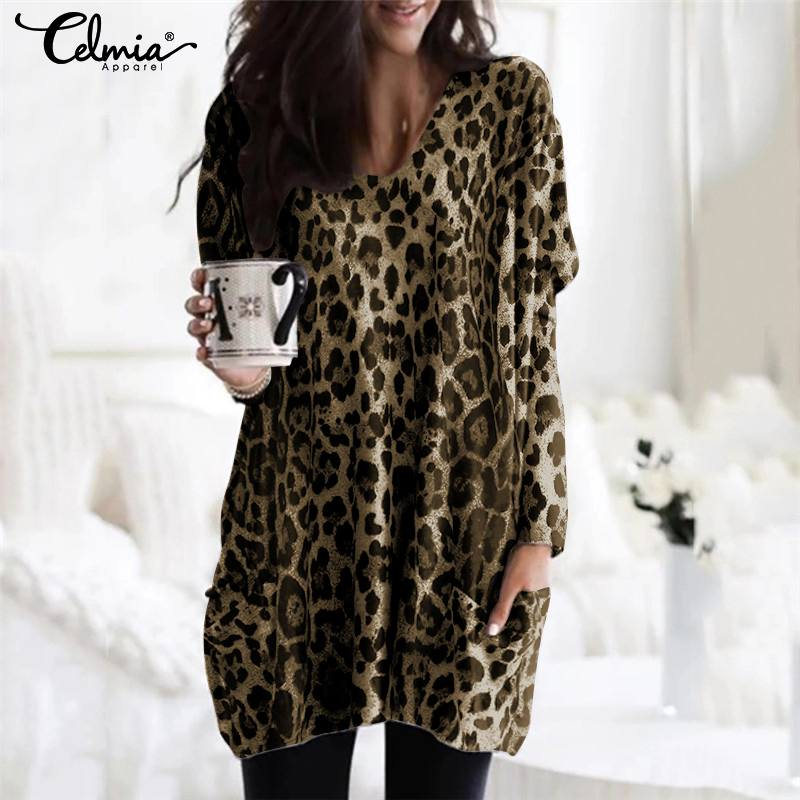 Celmia Plus Size Vintage Long Sleeve Tunic Tops Women Sexy V-Neck Pockets Blouses Casual Leopard Print Shirt Elegant Work Blusas