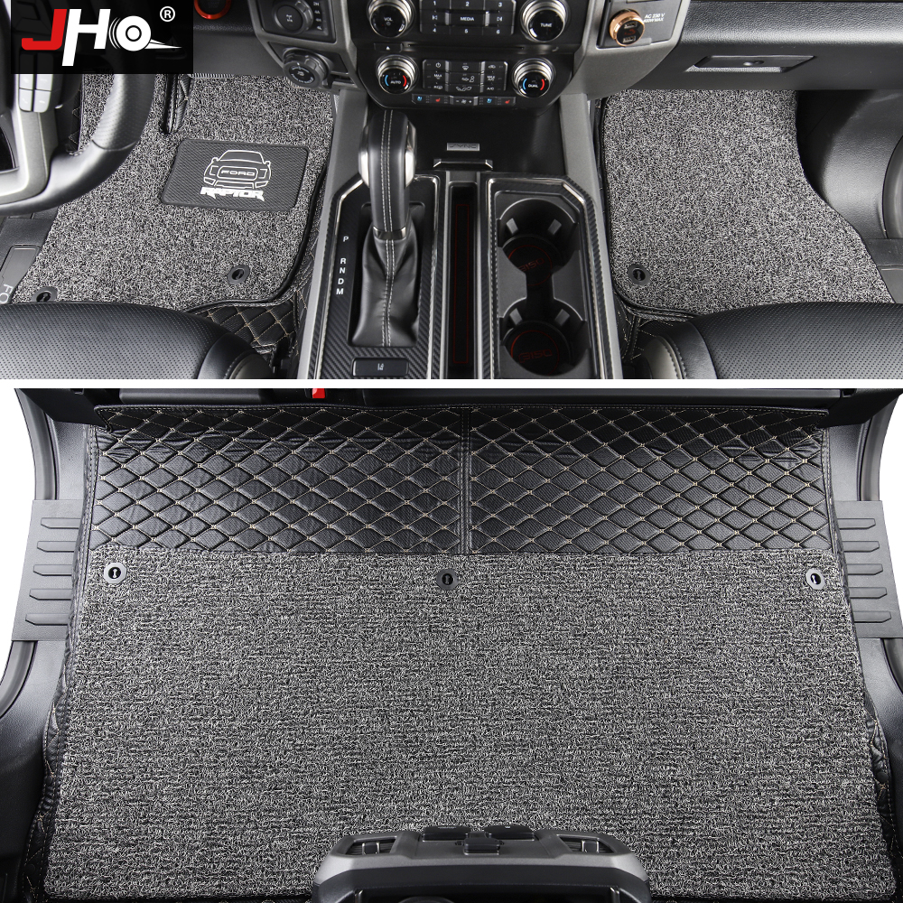 JHO Double Layer Wire Floor Mat Carpet Cover For Ford F150 2015-2020 2017 2018 2019 2016 Raptor Crew Cab 4-door Car Accessories