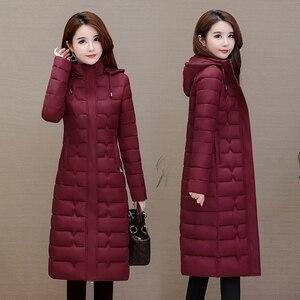 Image 2 - Зимние пальто, женская верхняя одежда 2020, Длинные парки, большие размеры 4XL, теплая толстая пуховая куртка с капюшоном, модная облегающая однотонная зимняя одежда для женщин