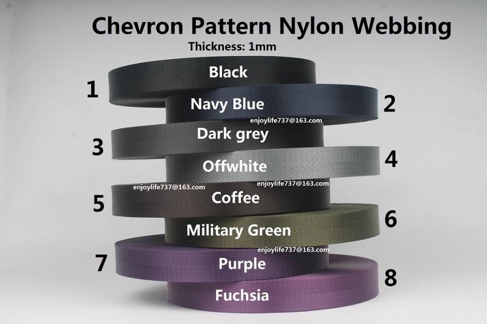25/32 / 38mm bred svart marineblå grå offwhite kaffe militærgrønn lilla fuchsia pil mønster nylon styrke webbing bånd