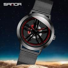 SANDA 2020 nowych moda zegarek kwarcowy mężczyzn wyścigi wściekły 360 ° Spinning Dial sport samochód zegarek prezenty Relogio Masculino 1009