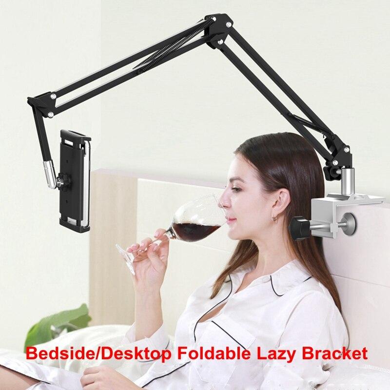 Three-Stage Bedside Tablet Phone Holder Foldable Long Arm Desktop Bedside Bracket Support Double 360 Degree Adjustable Stand