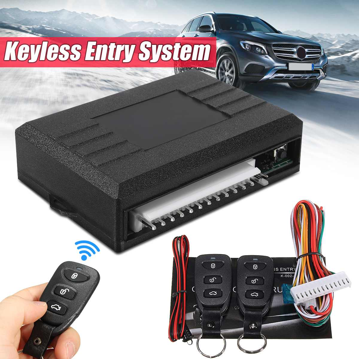 Universal Alarm Systems Car Auto Remote Central Kit Door Lock Locking Vehicle Keyless Entry System With Remote Controllers|Keyless Start System| |  - title=
