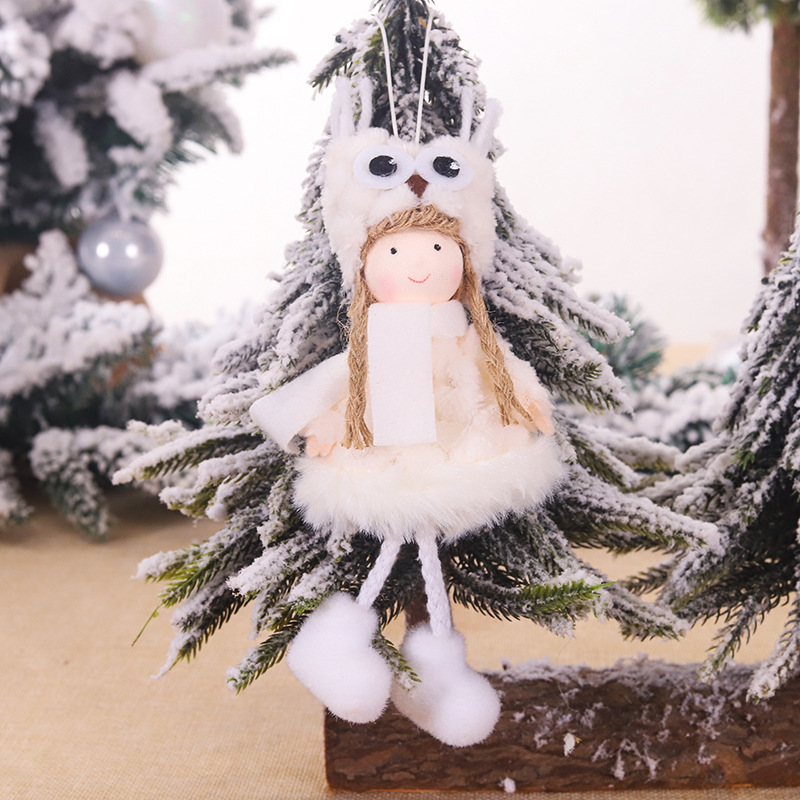 Lovely Plush Doll Angel Girl Pendants Christmas Ornaments Christmas Tree Tool