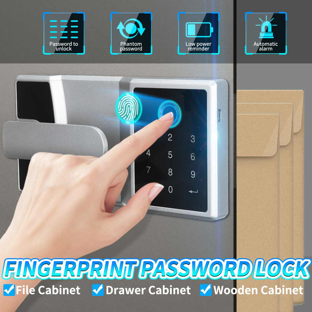 Electronic Digital Lock Fingerprint Password Lock Home Door Security Cabinet Cash Box Electric Lock Office Access Control Kit