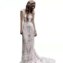 UMK Vestido De Noiva 2020 Vintage Boho Vestido De novia Sexy encaje manga corta espalda descubierta playa vestidos De novia