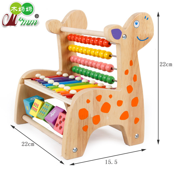 Wooden Children Early Childhood Educational Toy Multi-functional Primary Color Deer Beaded Bracelet Bead-stringing Toy-/Knock Pi