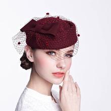 Qpalcr100 % шерсть шляпа вуаль чародей Шапки для женская федора