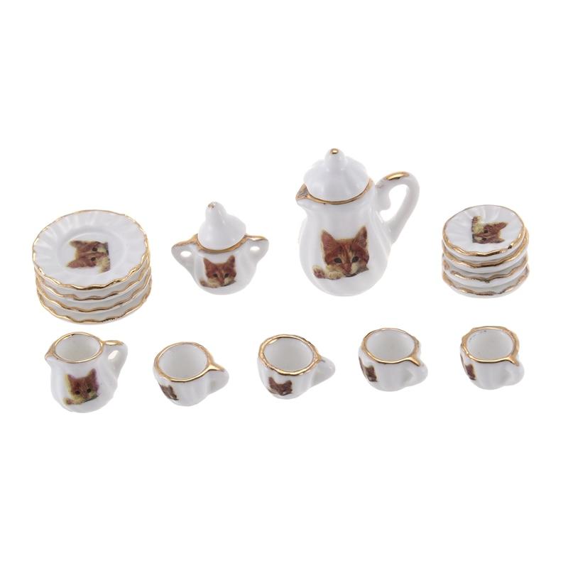 Set Of 15pcs Dolls House Miniature Porcelain Tableware Coffee Tea Cup Saucer Set Cat Print