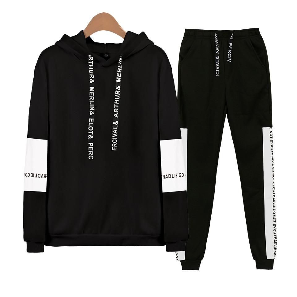 2019 Harajuku Custom Made Kpop Accessories Hoodie Sweatshirt Suits Long Sleeve Sweatshirt+Casual Pants Fashion Sets