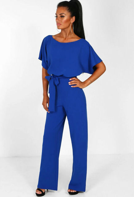 Hirigin 2020 Fashion Women O Neck Short Batwing Sleeve Belted Jumpsuit Summer Playsuit Office Work Wear Elegant Trousers 5
