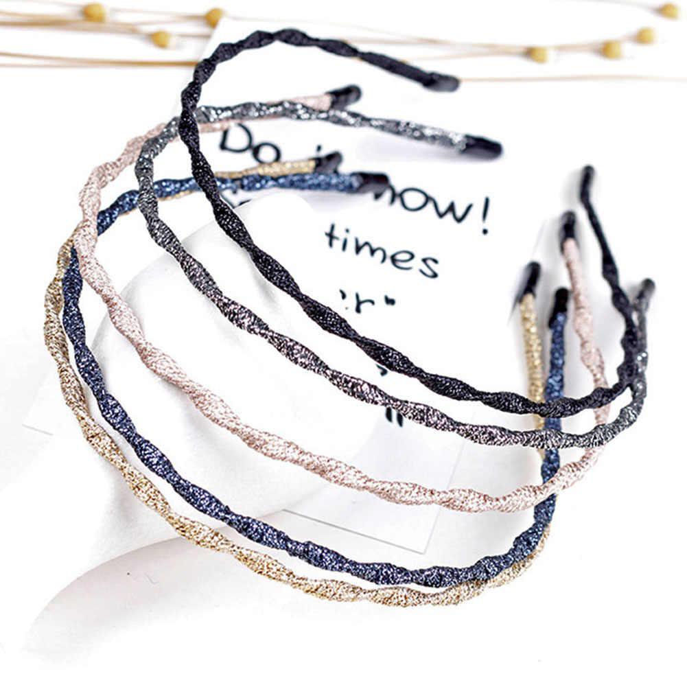 Banda de pelo de Metal de Color metálico de la onda de primavera con brillo súper fino elástico para el cabello aro de hierro trenzado para lavar la cara diadema geométrica