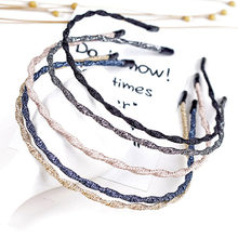 โลหะ Hairband ฤดูใบไม้ผลิ Wave Metallic สี Super Thin Glitter ผม Hoop Iron Craft Braided ล้างหน้า Geometric Headband(China)