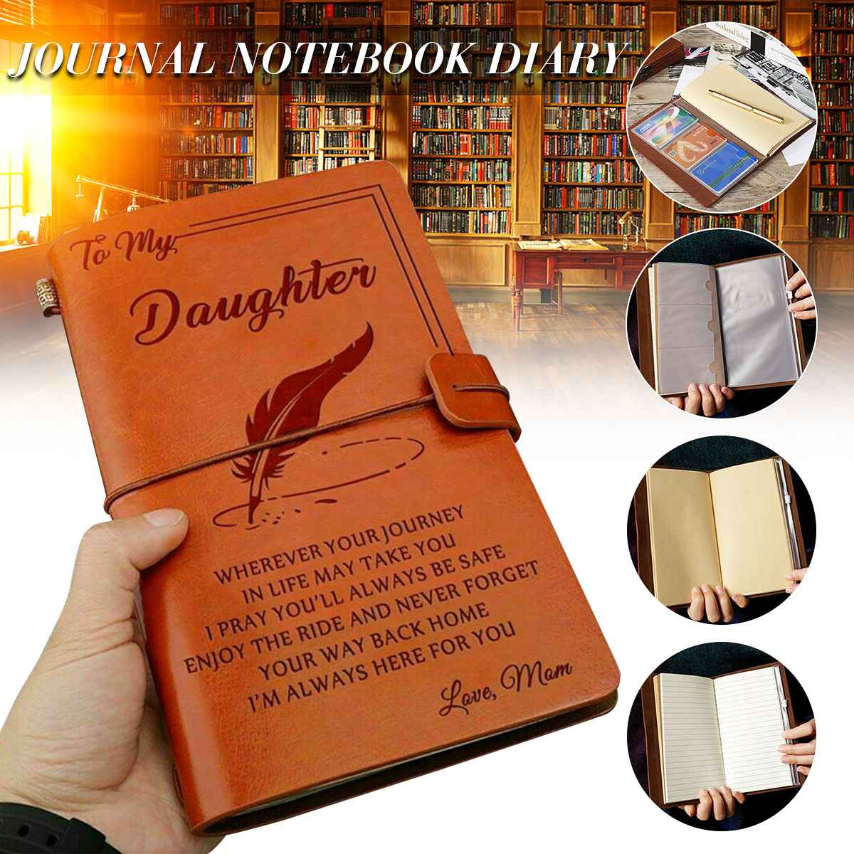 Engraved Leather Journal Notebook Diary To My Daughter Face Challenges Love Mon Engraved Notebook Diary 20x12cm