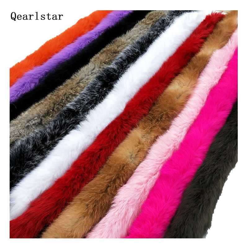 Clothes-Accessories Coat Trim Sweater Hood-Hat Genuine-Fur-Strips Rabbit-Fur Fluffy Thickened