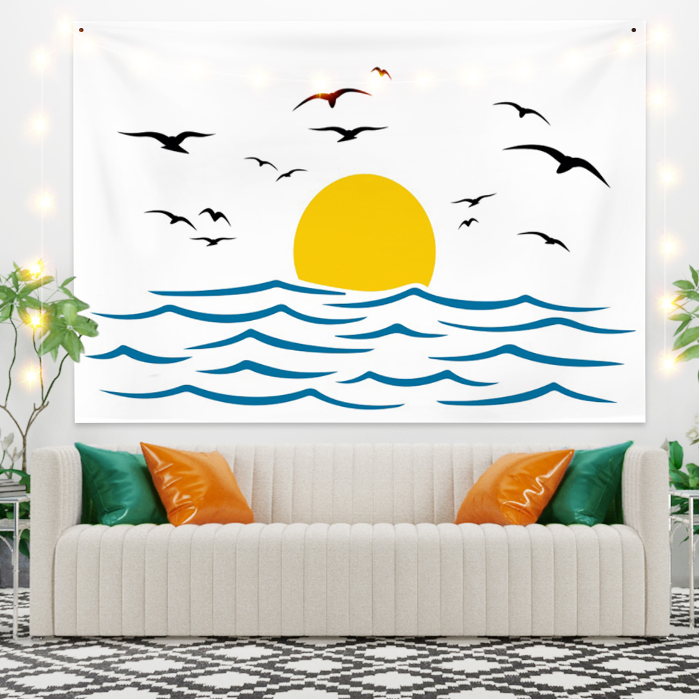 Cartoon Tapestry Seagull at Sunrise on the Sea Fashion Wall Hanging Background Dorm Bedroom Boho Art Decoration Picnic Beach Mat