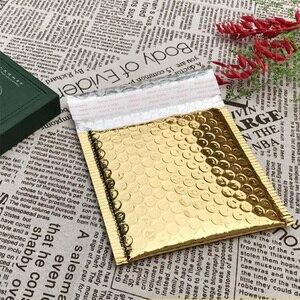 Image 1 - Sobres acolchados de papel dorado con burbujas para envíos, 50 Uds., CD/CVD, bolsa de regalo, sobre de correo de burbujas, 15x13cm + 4cm