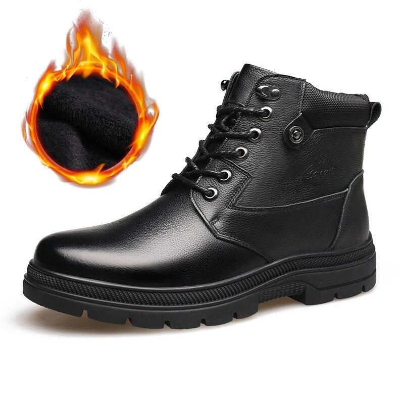 30 Degrees Below Zero Winter Boots Men Genuine Leather Shoes Men Ankle Boots Warm Plush Cow Leather Winter Male Footwear KA1867
