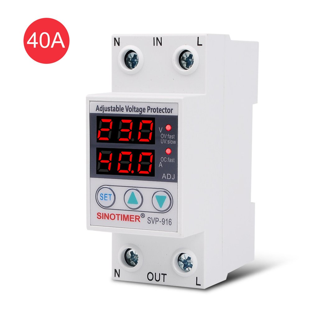 SVP-60L 230V 40A 63A Automatic Recovery Under Voltage Over Voltage Protector Relay Breaker Protective Device LED Display