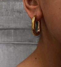 French minimalist retro metal-surface earrings HOOP stylish U-shaped  trendy chandelier indian earrings jewelry недорого