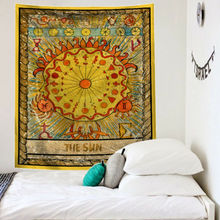 Гобелен с мандалой Таро, настенный гобелен с изменением фазы Луны, гобелены, спальное покрывало для декора, покрывало с изображением солнца, луны, Настенный декор 95x73 см