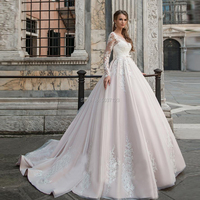 Luxury Pearl Pink Wedding Dresses with Lace Appliques Long Sleeves Scoop Neckline Buttons Back Court Train Wedding Bride Gowns