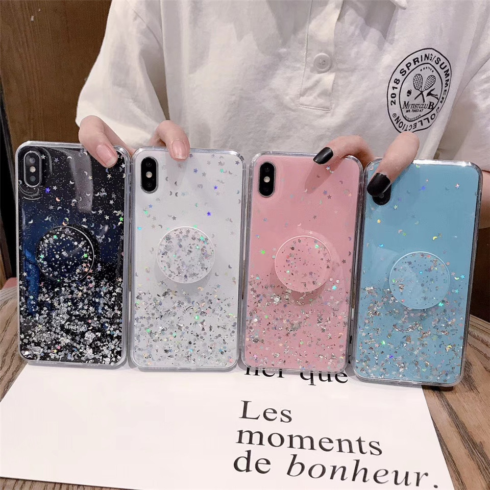 Transparent Shiny Bracket phone case for iphone 12 11 pro max case for iphone x xr xs max 7 8 plus 6 6s Back cover cases