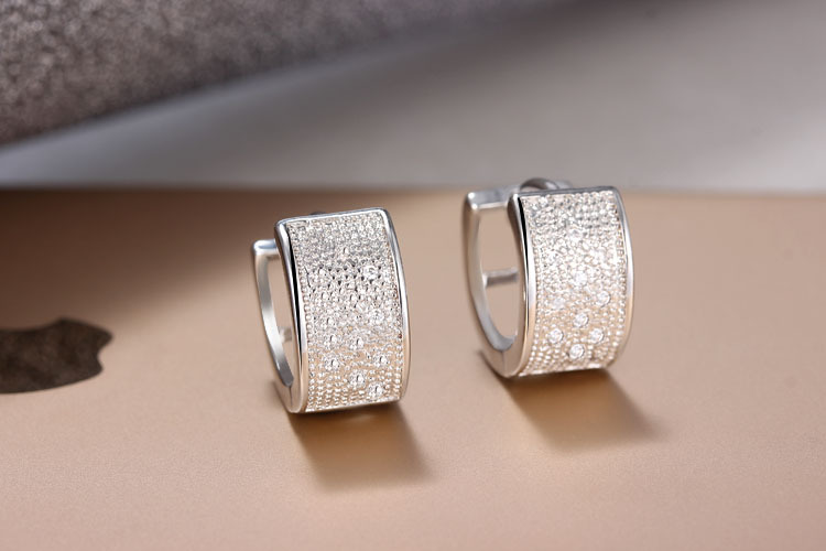 Hoop Earrings Bridal-Jewelry 925-Sterling-Silver Cubic-Zirconia Couple Top-Quality Gorgeous title=