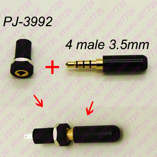 High Quality 4PCS DIY Golden 4P 3.5mm Earphone Female Socket+ 4Pole Plug Male Audio Stereo Jack With Screw Nut Connector PJ-3992