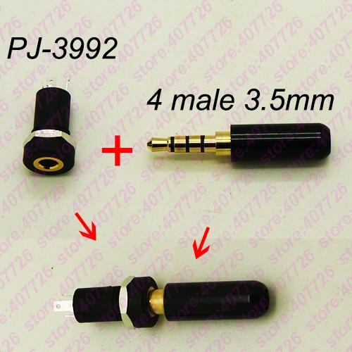 High Quality 4PCS DIY Golden 4P 3.5mm Earphone Female Socket+ 4Pole Plug Male Audio Stereo Jack With Screw Nut Connector PJ-3992