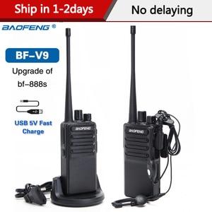 Image 1 - 2PCS Baofeng BF V9 USB 5V 빠른 충전 워키 토키 5W UHF 400 470MHz 16CH 햄 휴대용 라디오 BF 888S 양방향 라디오의 업그레이드
