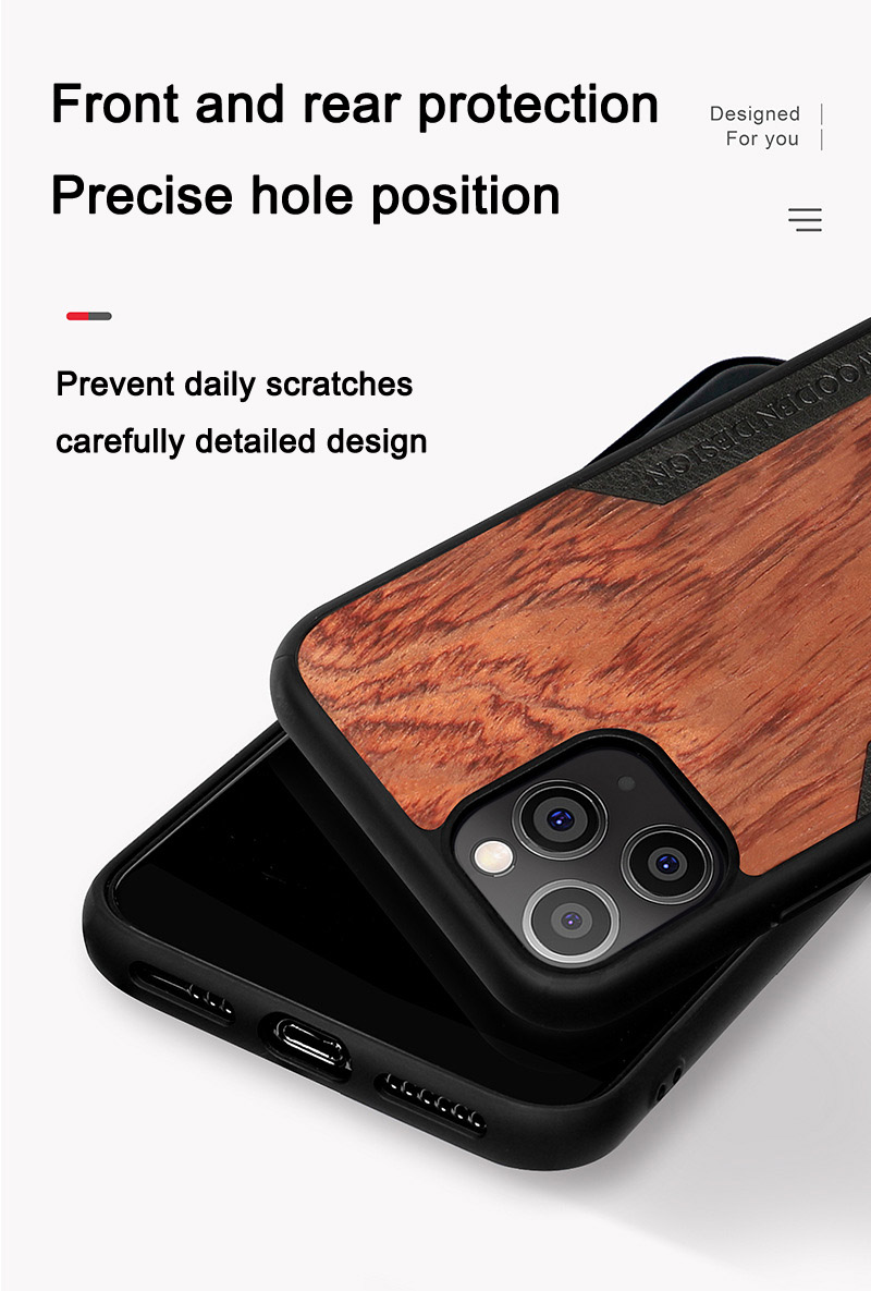 Solid Wood Crossbody Shoulder Strap Full Cover Lanyard Wooden Case for iPhone 12 Pro