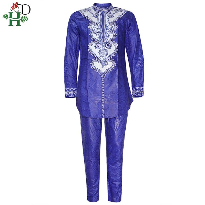 H&D Dashiki Shirt Pants African Men Clothes Set Bazin Embroidery Top Trouser Suit 2020 Mens Robes Ensemble Africaine 2 Pieces