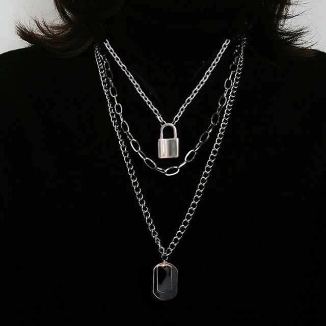 AOMU 2020 موضة متعدد الطبقات الهيب هوب سلسلة طويلة قلادة للنساء الرجال مجوهرات هدايا مفتاح الصليب قلادة إكسسوارات عقد