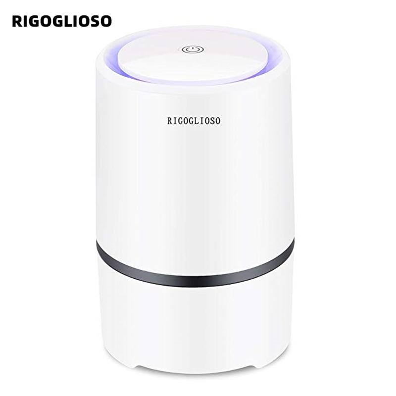 RIGOGLIOSO purificateur dair purificateur dair pour la maison HEPA filtres 5v USB câble à faible bruit purificateur dair avec veilleuse de bureau GL2103
