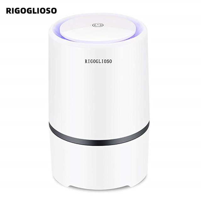 $ US $33.99 RIGOGLIOSO Air Purifier Air Cleaner for Home HEPA Filters 5v USB  cable Low Noise Air Purifier with Night Light Desktop GL2103