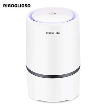 RIGOGLIOSO oczyszczacz powietrza filtr powietrza do domu filtry HEPA 5v kabel USB niski poziom hałasu oczyszczacz powietrza z lampką nocną pulpit GL2103 tanie i dobre opinie 50m³ h 10㎡ Przenośne 96 20 Filtr hepa ELECTRICAL 99 00 350*160*480mm ≤50dB 1000000 sztuk m³ 3-8m ³ Dezodoryzacji