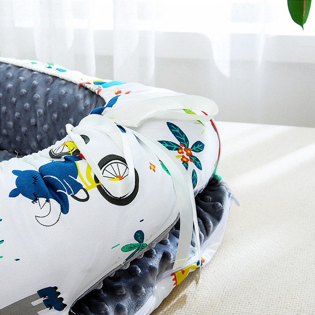 Portable Baby Nest Bed Crib Travel Bed for Boys Girls Pillow Infant Cotton Cradle Newborn Lounger Baby Bassinet Bumper Bed   HOTSHOPDIRECT